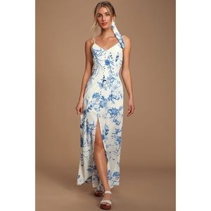 Lulus Blue and White Print Button-Front Maxi Dress